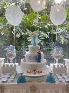 Amazing Frozen birthday party dessert table! See more party planning ideas at CatchMyParty.com!