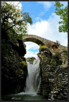 Waterfalls at the stone bridge of Gretsi near Palaiopyrgos village Ioannina region Epirus Seasons In The Sun, Old Bridges, Across The Bridge, Greece Holiday, Paradise On Earth, Greece Travel, Beautiful Places, Amazing Places, Places To Travel