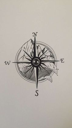 Tattoo design I drew a few years ago. #compass #mountains #waves #notallwhowonderarelost