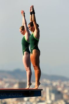 Lara Tarvit and Emily Boyd of Australia compete in the Women's 10m Platform Synchronised Diving final on day three of the 15th FINA World Championships at Piscina Municipal de Montjuic on July 22, 2013 in Barcelona, Spain. (Photo by Clive Rose/Getty Images)