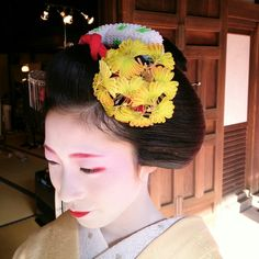 Miena chose yellow ginkgo kanzashi for November - it's hand-dyed and made of the finest Kyoto silk (2014)