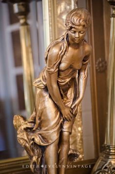 Vintage French Statue Beautiful Lady Gilded by edithandevelyn