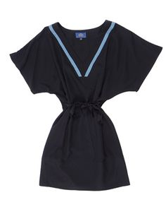 Silk T-Shirt Dress: the light blue v-neck detail gives this dress a great sailor vibe. I adore this dress.