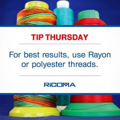 It's #TipThursday! Here's a quick idea to help you get better results!  #Embroidery #MachineEmbroidery #NeedlePoint #needlework #Stitch #embroideryhoop #DIY #HappyThursday #Business #training #tip #RiCOMA #thread