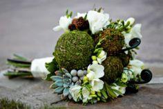 moss, succulent  and fiddlehead bouquet
