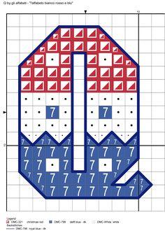 alfabeto bianco rosso e blu Q
