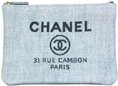 CHANEL Blue Raffia RUE CAMBON Cosmetic Pouch/Clutch
