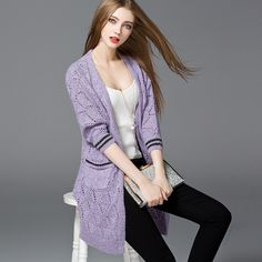 Autumn Winter Womens Sweaters and cardigan hollow Irregular Long Sleeve Knitted Sweater long coat casual knitted clothing