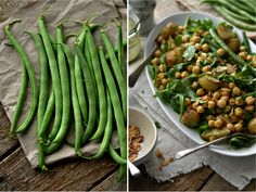 Green bean salad with roasted potatoes, chickpeas and mustard vinaigrette