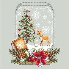 Christmas Deer Snow Globe cross stitch pattern by Shannon Wasilieff. An upside down mason jar houses this cute little deer and Christmas tree. Pattern stitch count is: by and uses DMC, Kreinik and Mill Hill beads. Xmas Cross Stitch, Cross Stitch Charts, Cross Stitch Designs, Cross Stitching, Cross Stitch Embroidery, Embroidery Patterns, Cross Stitch Patterns, Loom Patterns, Christmas Truck