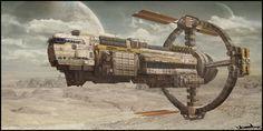 Sci-fi concept art Space mining cargo ship
