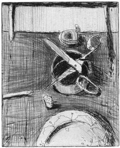 Richard Diebenkorn - Still life with plate and open scissors, from 41 Etchings Drypoints, 1963. Drypoint and hard ground etching