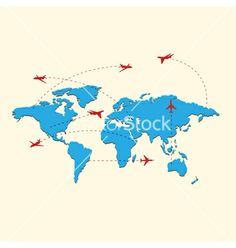 World travel map with airplanes vector by A-R-T-U-R on VectorStock®