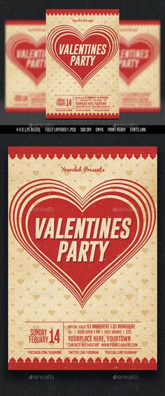 Valentines Party Flyer Template PSD #design Download: http://graphicriver.net/item/valentines-party-flyer/14511873?ref=ksioks