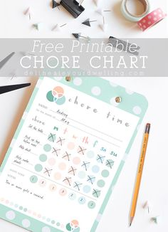 Free Printable Kid's Chore Chart. Help teach your children about responsibility early on!  Love this idea.  Delineateyourdwelling.com