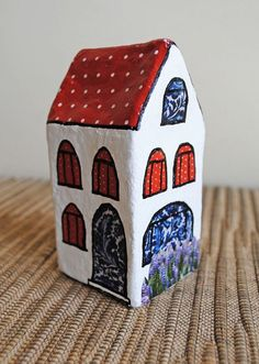 Paper mache mini house by Paola Beretta