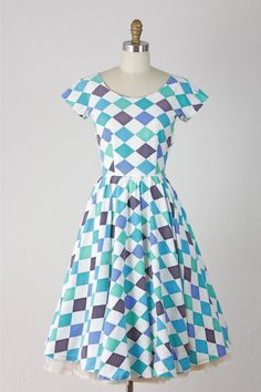 HARLEQUIN ❖ Picnic At The Sea Vintage Dress by salvagelife on Etsy