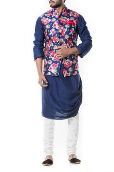 Designer blue waistcoat with pink floral waistcoat Nehru jacket.Get the outfit for Manufacturer rate call or WhatsApp at Wedding Dress Men, Indian Wedding Outfits, Wedding Suits, Indian Outfits, Indian Weddings, Wedding Couples, Wedding Ideas, Indian Groom Wear, Indian Wear