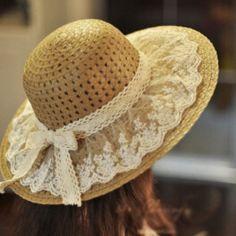 Sol del verano del cordón sombreros para mujer nueva moda Sombrero de ala ancha Floppy paja Sombrero femenino