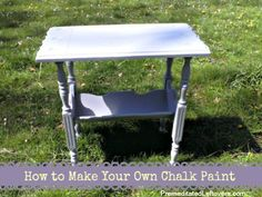 How to Make Your Own Chalk Paint 2 cups paint 1/3 cup plaster of Paris 2 tablespoons room temp water