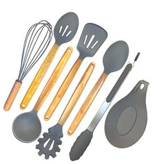 ELLO HOME Silicone Cooking Utensils Set | 8 Piece Kitchen Utensil Set | Natural Acacia Wooden Silicone Kitchen Utensils Set | Silicone Utensil Set for Nonstick Pots Pans Nonstick Cookware Tongs Spoon. For product & price info go to:  https://all4hiking.com/products/ello-home-silicone-cooking-utensils-set-8-piece-kitchen-utensil-set-natural-acacia-wooden-silicone-kitchen-utensils-set-silicone-utensil-set-for-nonstick-pots-pans-nonstick-cookware-tongs-spoon/