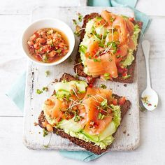 Avocado on Toast with Smoked Salmon = breakfast or a snack!