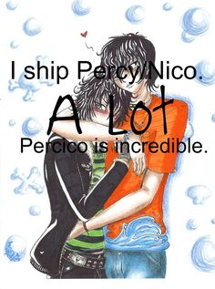 Is it Percico or Pernico? Its Pernico people and I do ship this a lot. Percy Jackson Books, Percy Jackson Fandom, Solangelo, Percabeth, Percy And Nico, Trials Of Apollo, Heroes Of Olympus, Rick Riordan, Olympians