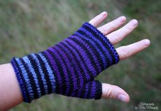 "Fingerless mittens ""Stripesation"", handknit fingerless gloves, wrist warmers, one-of-a-kind - fine yarn and great fit, blues and purple by KnitographyByMumpitz"