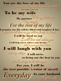 Pinned said: Our wedding vows. We said them back and forth to eachother, he did the first line, me the second, etc. His vows are the dark brown, mine the cursive peach, and the mid-tone brown with the shadow are where we both said the same line.