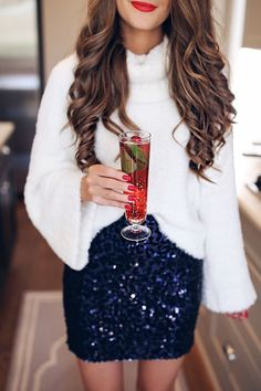 White sweater + navy sequin mini.