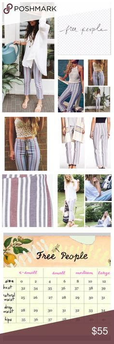 "Free People Striped Linen Blend Crop Pants.  NWT. Free People Stripe Linen Blend Cropped Pants, 55% linen, 42% cotton, 3% spandex, washable, 31"" waist, 11"" front rise, 17"" back rise, 26"" inseam, 14"" leg opening all around, high waist, banded flat waist, concealed side zip closure, measurements are approx.  NO TRADES Free People Pants Ankle & Cropped"