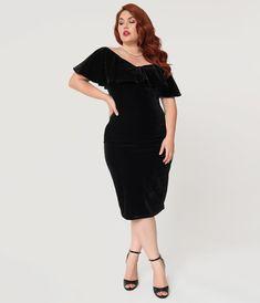 0d6056e4d53 Unique Vintage Plus Size Black Velvet Draped Off Shoulder Sophia Wiggle  Dress Plus Size Vintage