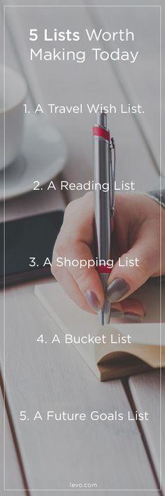 5 lists to make NOW / www.levo.com