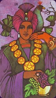 Nine of Pentacles Upright:Gratitude, luxury, self-sufficiency, culmination Reversed: Over-investment in work, financial setbacks