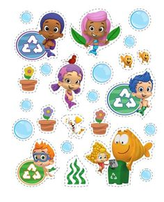 Show kids that recycling is fun with the help of these Bubble Guppies stickers!