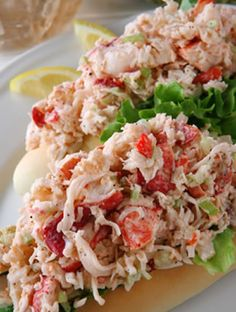 These hearty lobster salad sandwiches make a generous lunch for two people, especially when served with pickles and potato chips on the side. #lobster