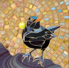 Blackbird I Mosaic Card Blank Greetings Card by LAMosaicGifts