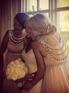 White and Gold Wedding. Gold Bridesmaid Dress. Soft and Romantic. Jennifer Lopez Oscars Red Carpet inspired Embellished Gown