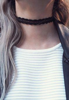 Aluna Mae IRIS. Black Crochet Choker Necklace   alunamae.com