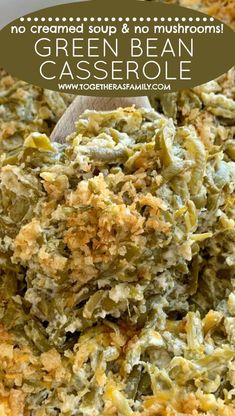 Green bean casserole recipe with no mushrooms and no canned soup! Uses canned green beans for convenience and ease, and just a few other ingredients. Green Bean Casserole Bacon, Homemade Green Bean Casserole, Vegetable Casserole, French Onion Green Bean Casserole Recipe, The Best Green Beans, French Green Beans, Greenbean Casserole Recipe, Casserole Recipes, Canned Green Bean Recipes