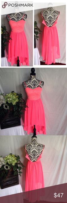 NWOT B. Darlin' Chiffon & Rhinestone Dress Hot pink/peach. Nothing wrong with the zipper (see back pic) it just doesn't fit my mannequin. By b Darlin. Lightly Rhinestoned on bodice. Beautifully laid chiffon skirt fall in back. Never worn. Zips in back. Size 1/2 B Darlin Dresses High Low