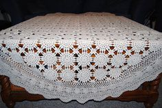 Crochet  Buff Tablecloth by CheekyVintageCloset on Etsy, $38.00