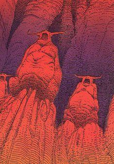 Trading cards - Moebius (collector cards) - The Hyperspace Gods Jean Giraud Moebius, Moebius Art, Moebius Comics, Baphomet, Heavy Metal Art, Writing Art, Collector Cards, Digital Art Girl, Science Fiction Art