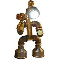 Easy2cook-Vintage- Retro Handmade- Steampunk Pipe Table Lamp- Robot Romantic