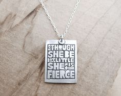 Motivational quote necklace - Shakespeare - silver inspirational jewelry. $44.00, via Etsy.