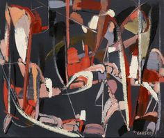 Composition sur Fond Ardoise, Andre Lanskoy (1902-1976) #art #abstract