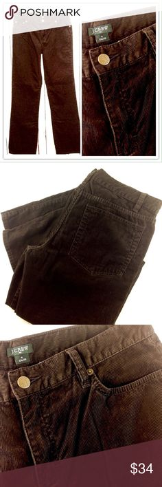 """J.Crew City Fit Brown Micro Corduroy Pant Size 6 Like new! Excellent condition.  J. Crew dark coffee brown cords. Size 6. City Fit. Waist 31"""", Inseam 32"""". 100% Cotton.                                                     Please ask all your questions before you purchase! I am happy to help! Sorry, no trades or holds.Please, no lowball offers. Please use Offer Button! Happy Poshing! J. Crew Pants Straight Leg"""