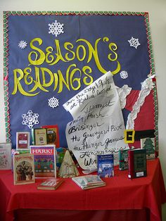 the december 2009 middle school library display, santa's list of books he'll bring the good little boys and girls