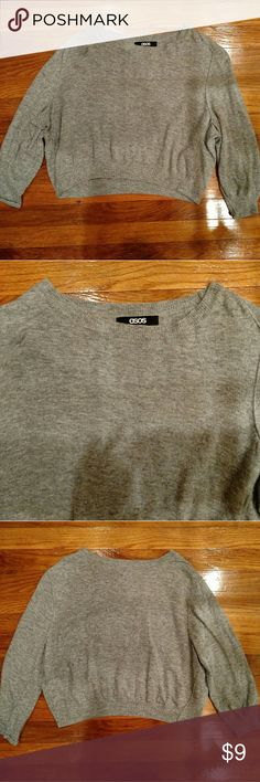 ⚡ ASOS Grey Cropped Sweater Asos cropped sweater with 3/4 sleeves.  45% Viscose. 40% Nylon. 15% Angora. ASOS Sweaters