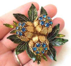 Rare* jawdropping vintage rhinestone enamel flower signed vendome brooch! g8887